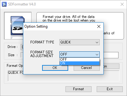 SDFormatter option setting