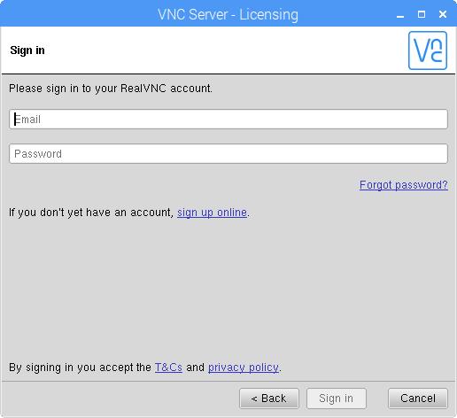 VNC Server - Sign in