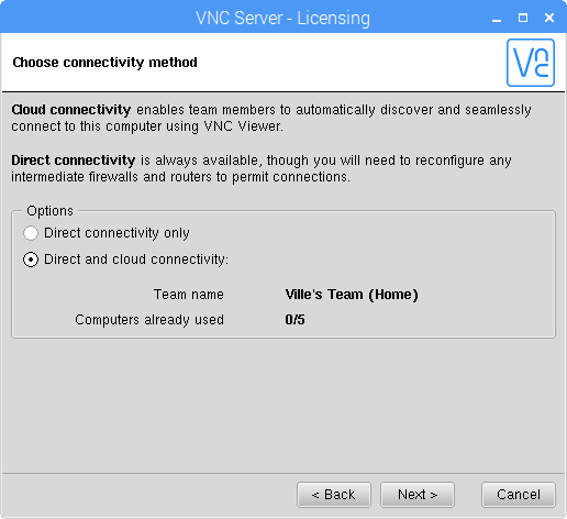VNC Server - Choose connectivity method