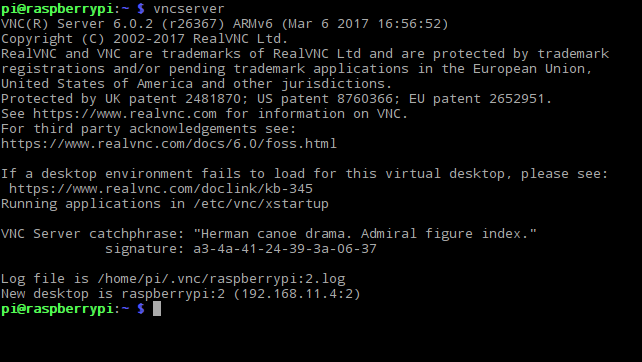 vncserver in Terminal