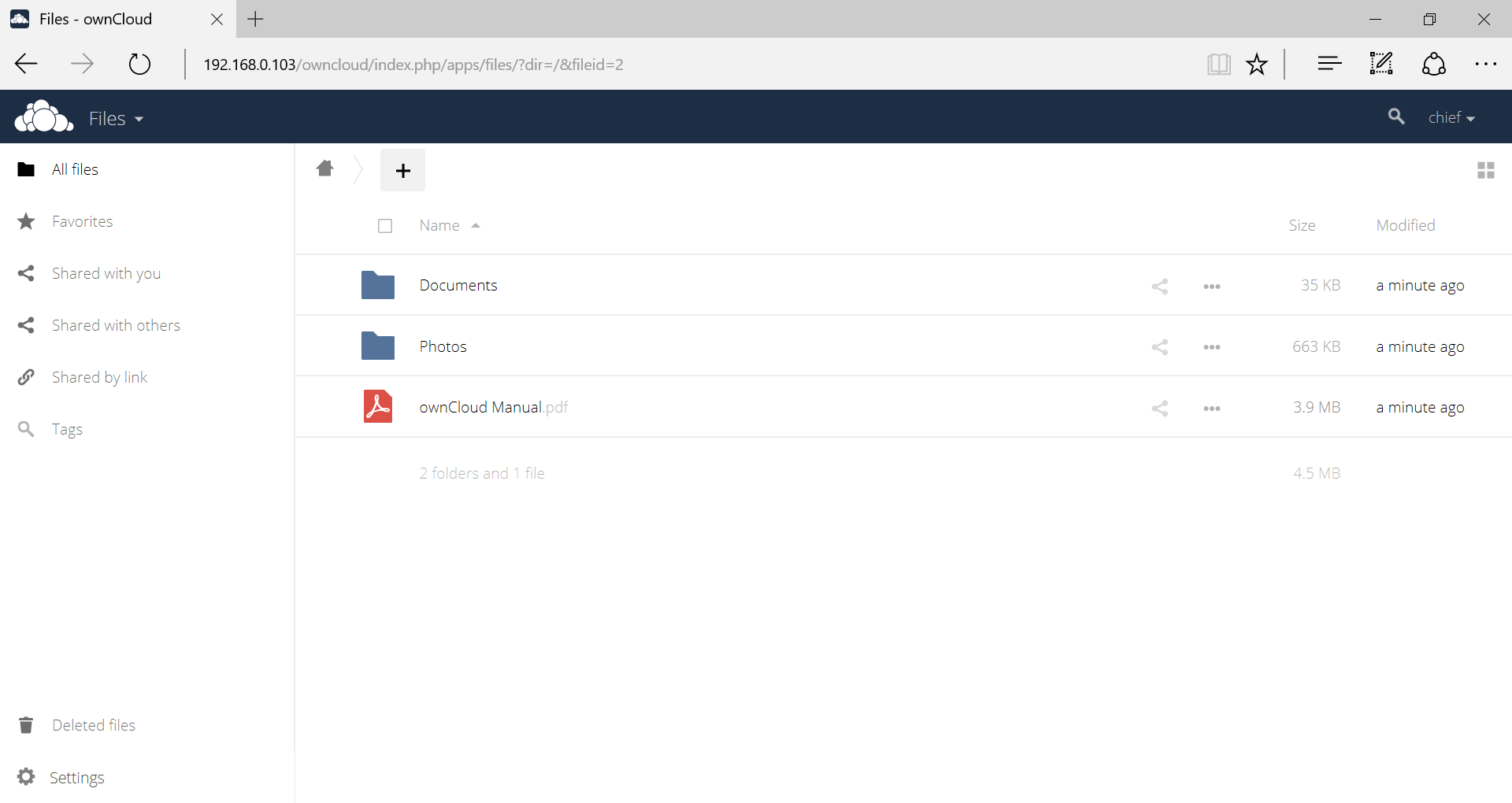 ownCloud - Web interface (2)