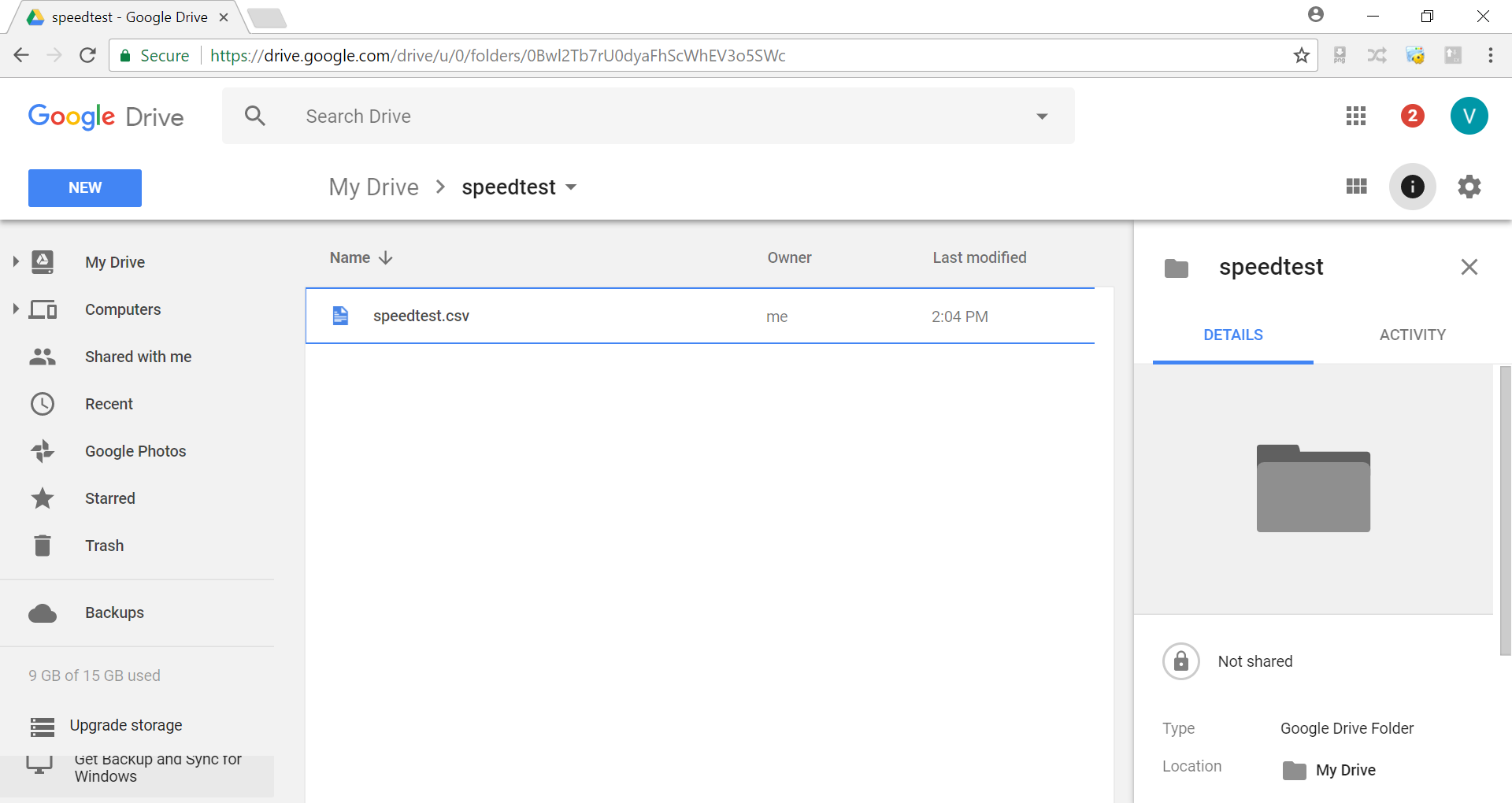 Google Drive - speedtest.csv