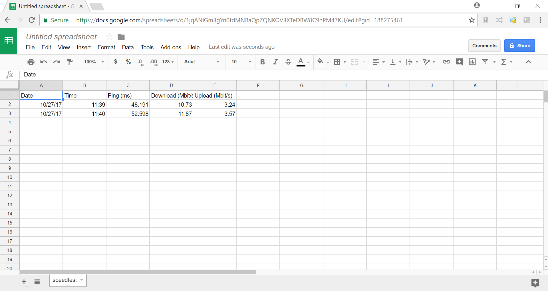 Google Sheets - speedtest.csv